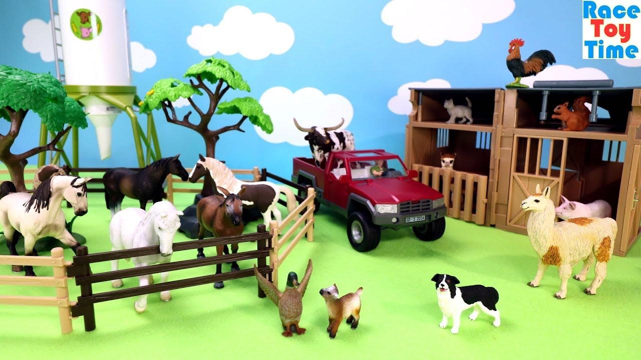 Farm Animals Toys in the Barn Playset - Fun Learn Animal ...