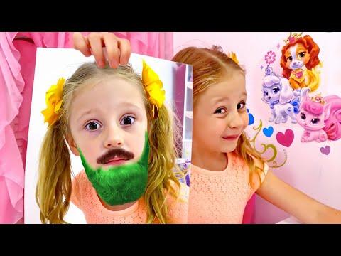 Nastya joue avec des images magiques, des histoires magiquespour les enfants