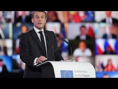 ماكرون يدعو من مؤتمر -مستقبل أوروبا- إلى تحديث الاتحاد الأوروبي ليكون أكثر مرونة وحزما