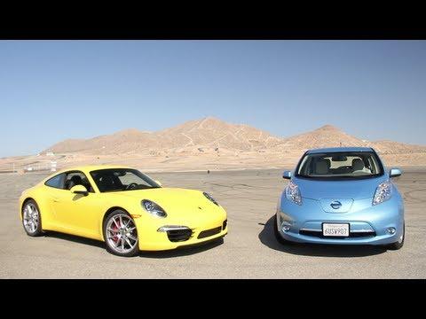 2012 Nissan Leaf vs. 2012 Porsche 911 Carrera S - CAR and DRIVER