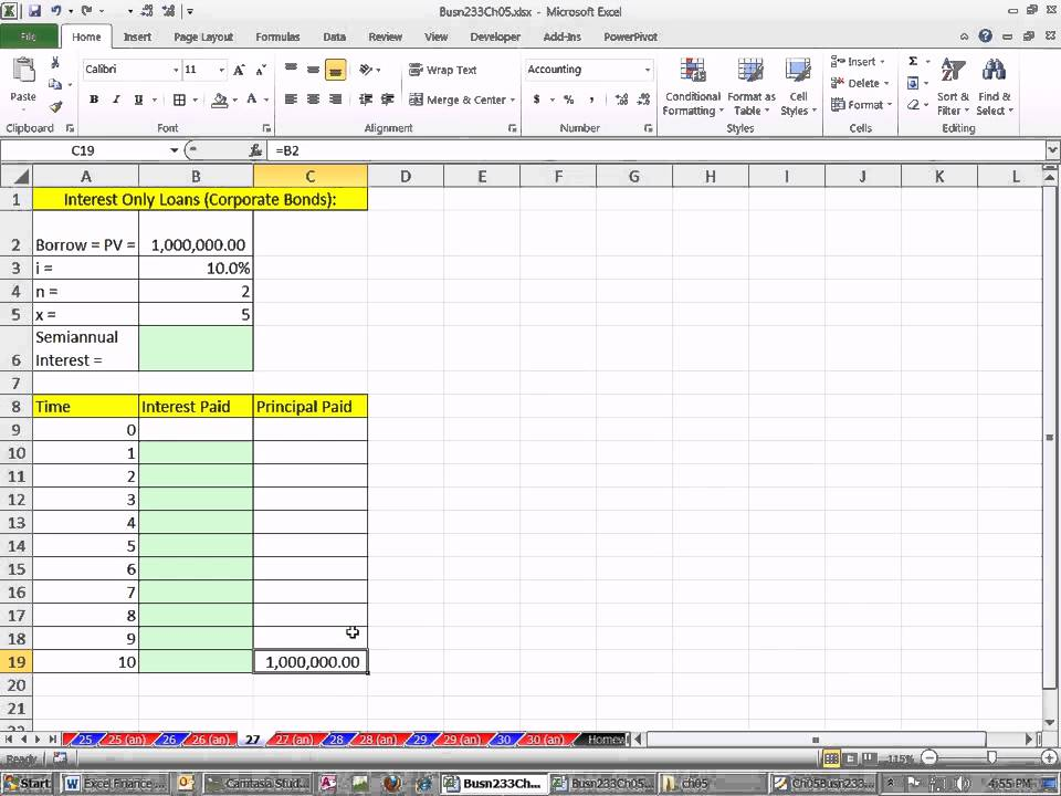 Excel Finance Class  Interest Only Loan Schedule  Youtube