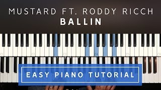 Mustard - Ballin ft. Roddy Ricch EASY PIANO TUTORIAL