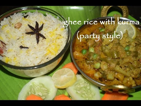 Ghee Rice With Kurma / ಗೀರೈಸ್ ಕುರ್ಮಾ/ Party Style Mixed Veg Curry With Ghee Rice / One Pot Recipe