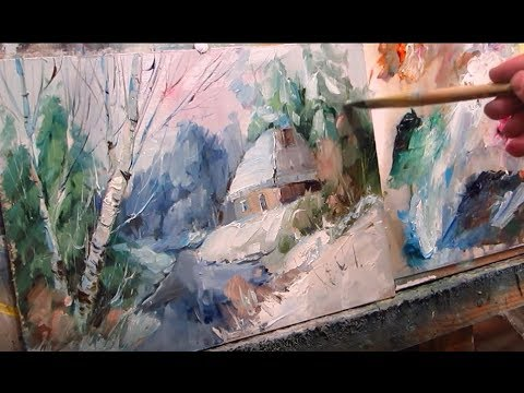 Painting with oil  House in the winter forest  Part 1  English comments, subtitles