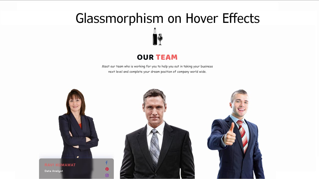 Glassmorphism on hover using HTML CSS and Bootstrap | Testimonial Section (CSS Design)
