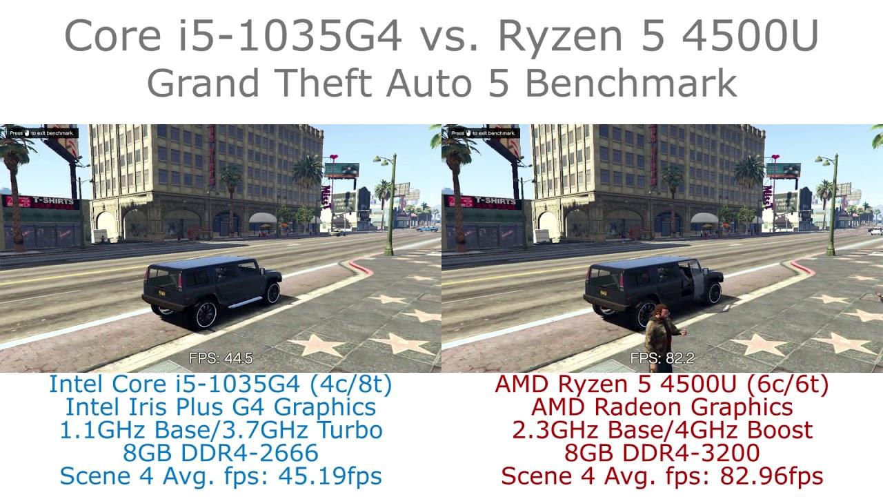 Core I5 1035g4 Vs Ryzen 5 4500u Grand Theft Auto V Benchmark Youtube