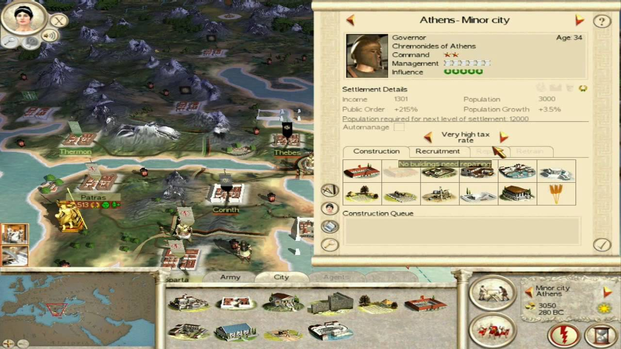 Rome Total War campaign extended greek mod