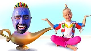 Little girl and Genie comes out of TV with Toys surprises