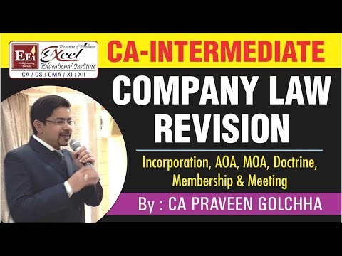 CA INTER Company Law REVISION, By CA. Praveen Golchha