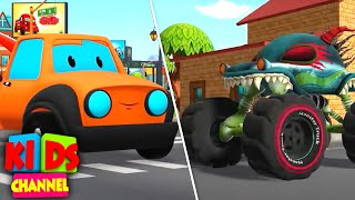 Road Rangers Vs Haunted House Monster Truck | Car Cartoon Videos for Kids