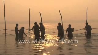 Bath rituals in Indian river - Kumbh Mela