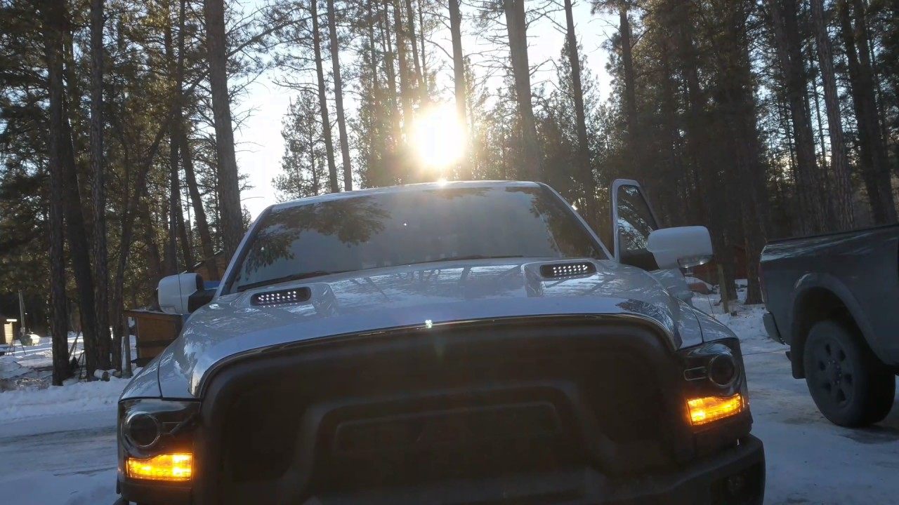 2016 Ram Hood Scoop Leds Youtube