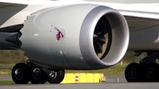 "Close Up!! Qatar / Boeing 787-8 ""Dreamliner"" Takeoff in Full HD1080p! With ATC."