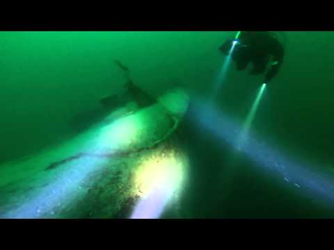 Scuba on Tirpitz torpedo net layer DS Sloggen in Norway