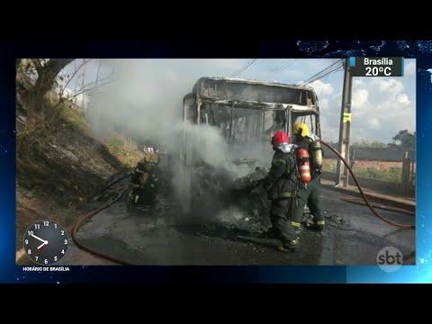 Em apenas 4 dias, chega a 60 o número de ônibus incendiados em MG   SBT Brasil (06/06/18)