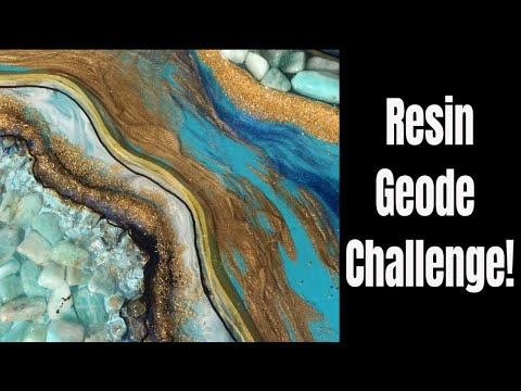 25. 🌟Amazonite, Gold and Glass RESIN GEODE Challenge With MKL GRM!!🌟