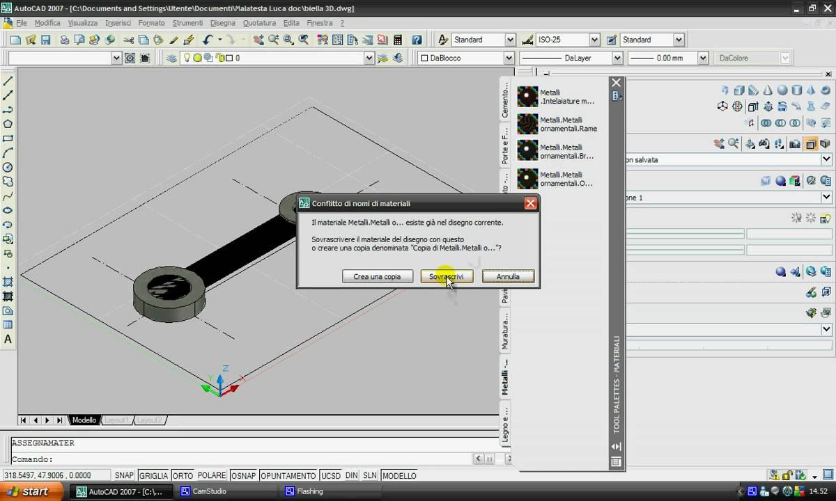 Semplice biella 3d con autocad youtube for Disegno 3d free