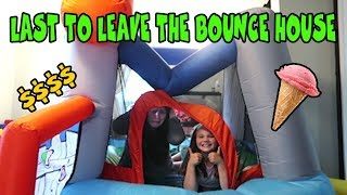 Last To Leave The Bounce House Wins Ice Cream! Huge Bounce House In Our House!