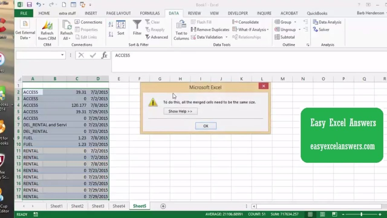 Getting around error message for sorting merged cells in Excel