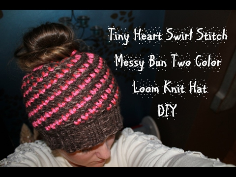 Loom Knitting With Two Colors : How to loom knit tiny heart swirl stitch messy bun two color hat