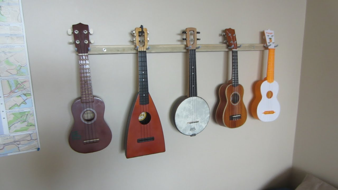 how to build a ukulele wall rack youtube. Black Bedroom Furniture Sets. Home Design Ideas