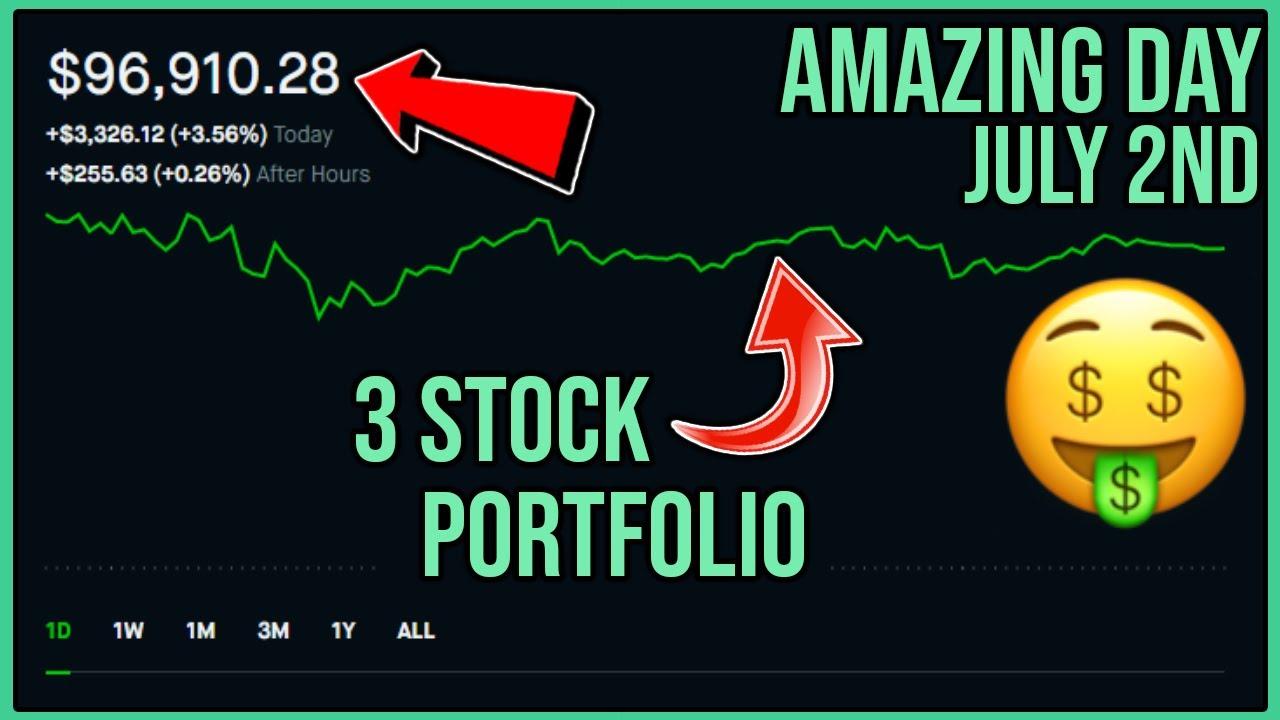 AMAZING STOCK MARKET DAY - Robinhood Investing | $97,000 Stock Portfolio and $3,600 Gain