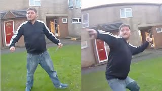 This is the terrifying moment man swings at police with huge knife
