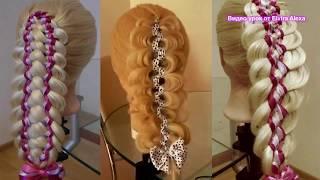 Косы с лентамаи в школу  Красивые плетения  Причёски на каждый день hair tutorial