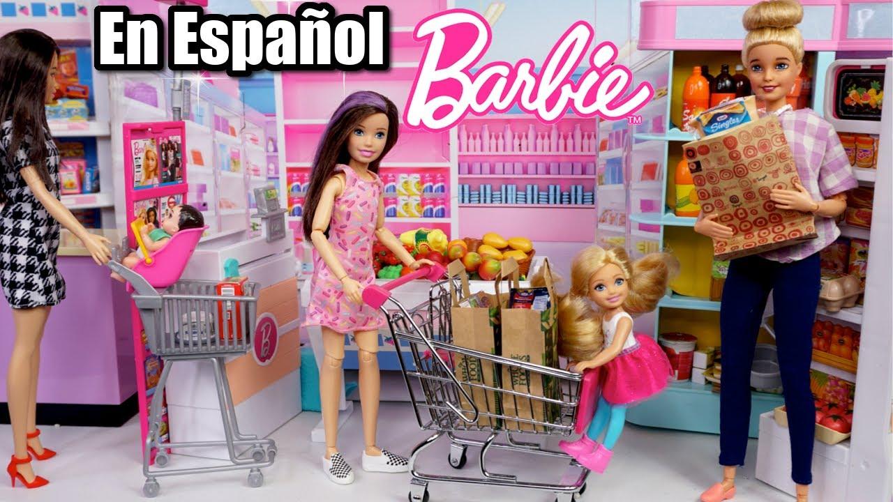 Supermercado de Muñecas Barbie y Abriendo Juguetes Miniatura
