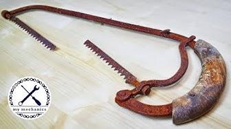 Antique Rusty Hacksaw with Broken Blade - Restoration