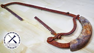 Antique Rusty Hacksaw with Broken Blade - Restoration