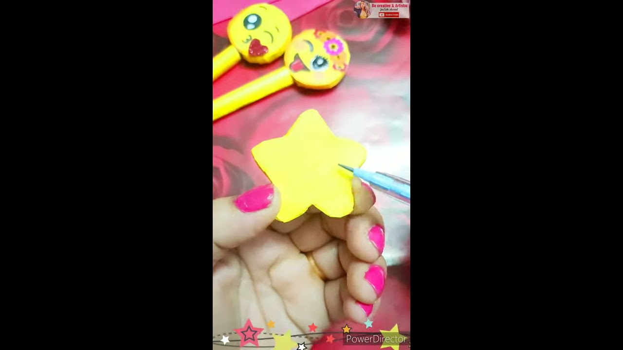 DIY Handmade Emoji Pencil topper| DIY Emoji pen | Paper crafts / paper crafts / DIY / #shorts