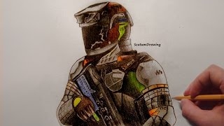 Warfighter - Speed Drawing - How To Draw - Call of Duty: Infinite Warfare