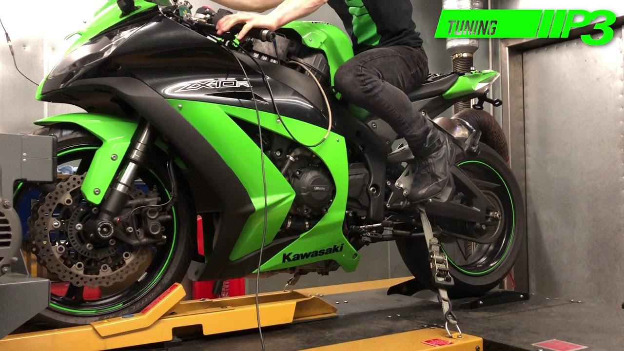 Kawasaki ZX10R Full Custom ECU Mapping Dyno run with race tools using  Woolich racing software P3 Tun
