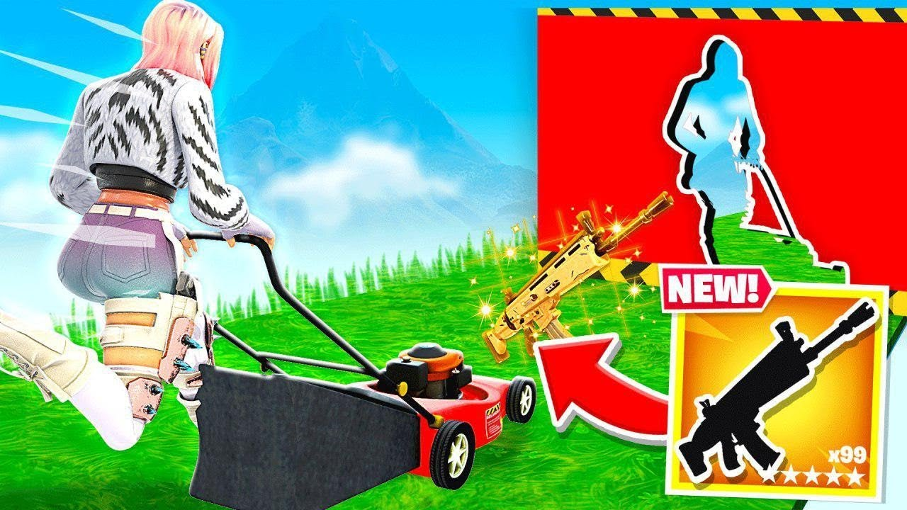 MOWING The LAWN FOR LOOT (Fortnite)