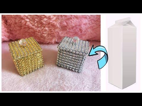 SÜT KUTUSUNDAN HEDİYE KUTUSU YAPIMI / How to Make Jewelry Gift Box / Best out of waste