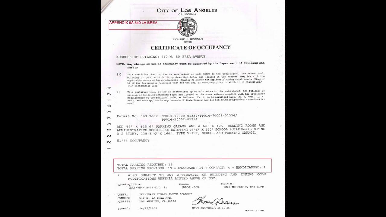 Yeshivath Torath Emeth 540 N La Brea Certificate Of Occupancy Youtube