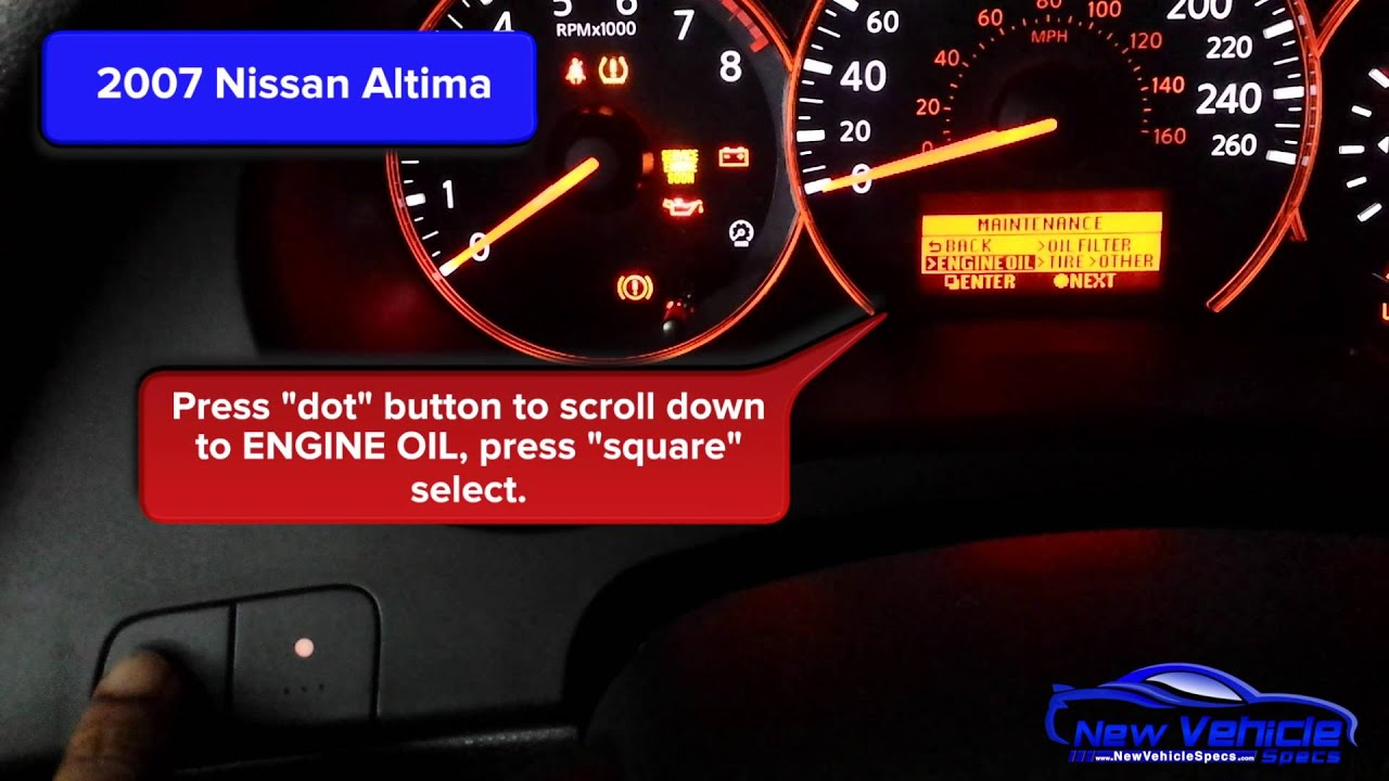 2007 nissan altima oil light reset service light reset for Motor oil for 2005 nissan altima