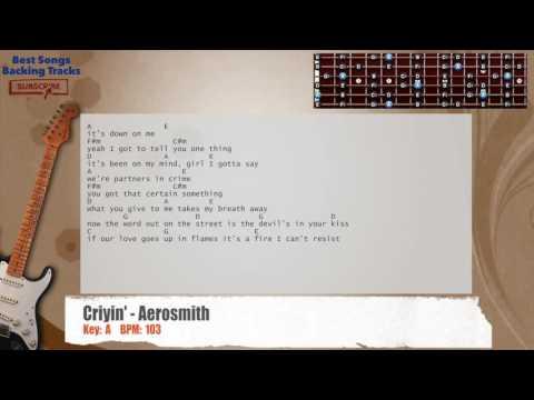 Criyin' - Aerosmith Guitar Backing Track with chords and lyrics