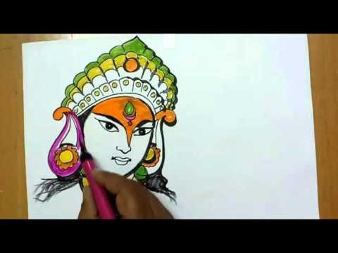 navratri special drawing of durgamata