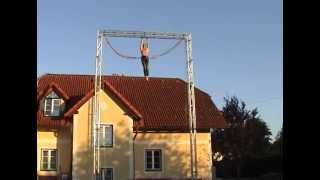 Performing jumps 8 meters with a homemade bungee trampoline