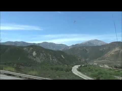 San Bernardino California Drive through the Lucious Mountains From the Desert