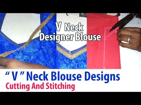 Blouse Back Neck Designs Cutting And Stitching | V Neck Stitching With Back Patch Designs In Tamil