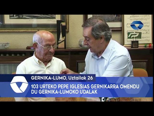 103 urteko Pepe Iglesias gernikarra omendu du Gernika-Lumoko Udalak
