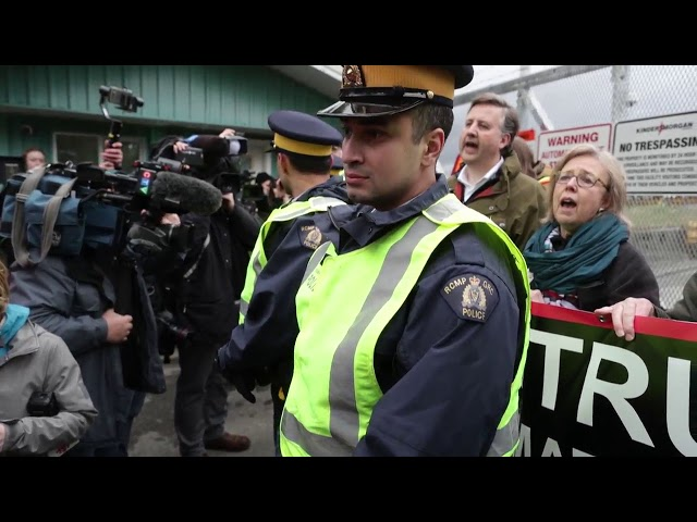 "Green party Leader Elizabeth May and NDP MP Kennedy Stewart were among people arrested Friday at a B.C. protest against Kinder Morgan's Trans Mountain pipeline expansion. May called the project a ""crime against future generations."" (The Canadian Press)"