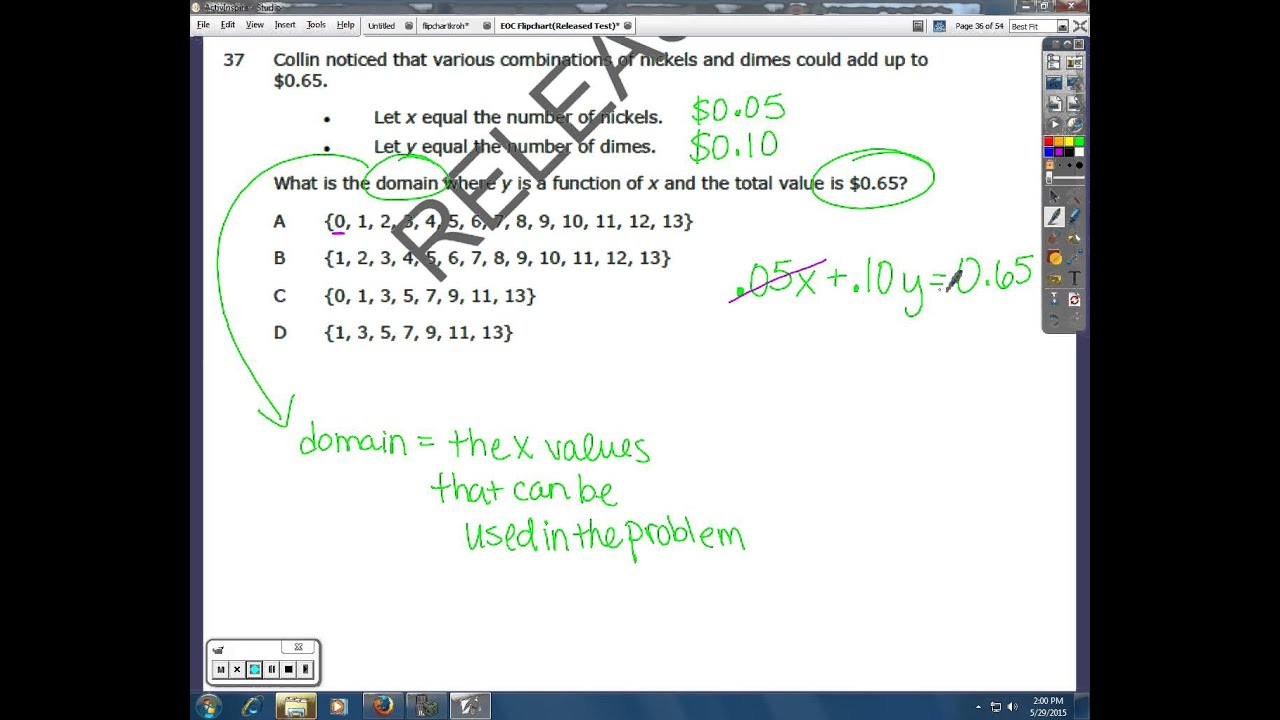 NC EOC Math I Released Test #30-33 and #36-38 - YouTube