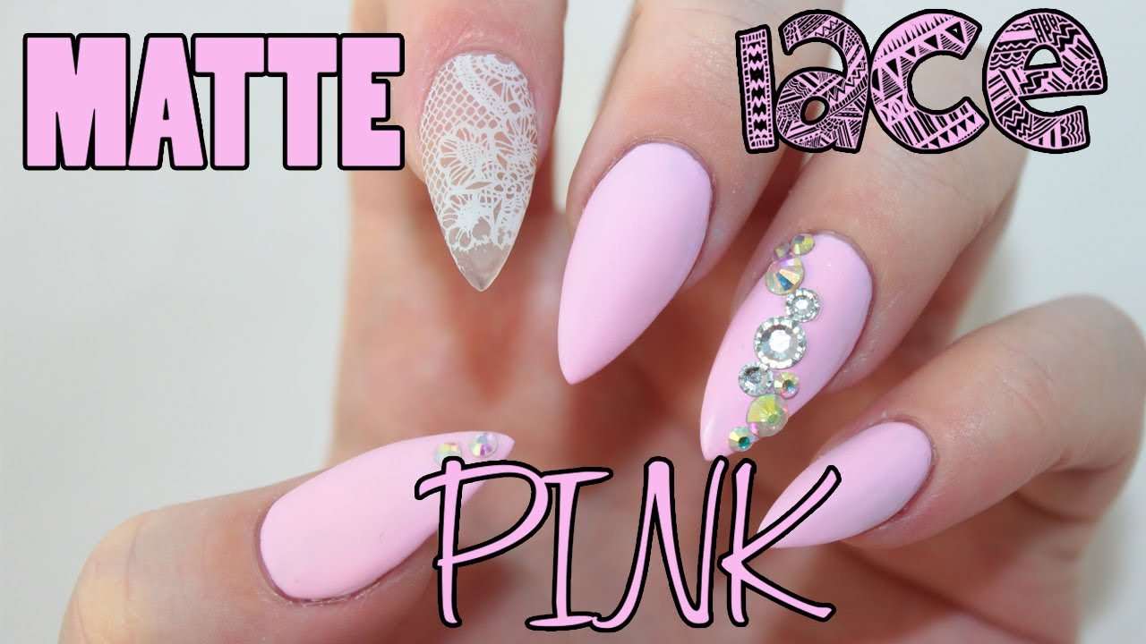 Matte Pink Lace Acrylic Nails - YouTube