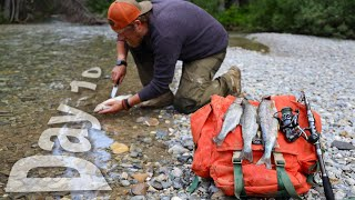 Catch And Cook Cutthroat Trout Day 10 of 30 Day Survival Challenge Canadian Rockies