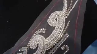 Аппликация для свадебного платья. Люневильская вышивка бисером на сетке.