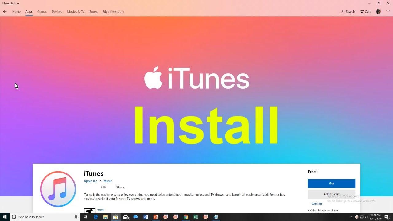 itunes app download windows 10